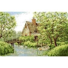 """Набор для вышивания DMC BK961 """"Загородный домик с видом на реку"""""""