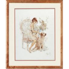 """Набор для вышивания Lanarte 33826 """"Девушка в кресле с собакой"""""""
