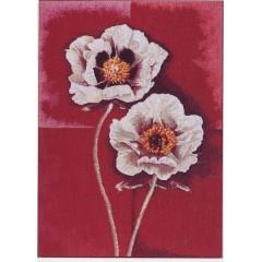 """Набор для вышивания Lanarte 34853 """"Белые цветы на красном фоне"""""""