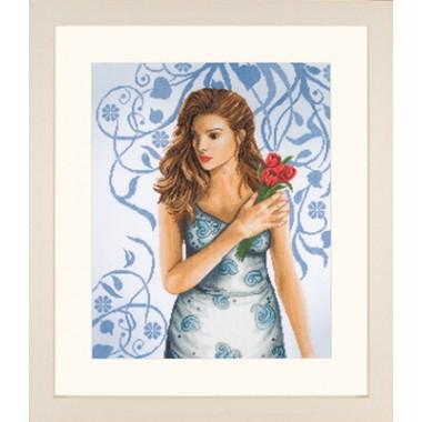 """Набор для вышивания Lanarte 35027 """"Девушка в голубом"""""""