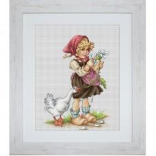 """Набор для вышивания Luca-S B1047 """"Девочка с гусем"""""""