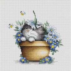 Набор для вышивания Luca-S B1048 Котенок в цветах