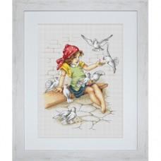 Набор для вышивания Luca-S B1051 Девочка с голубями