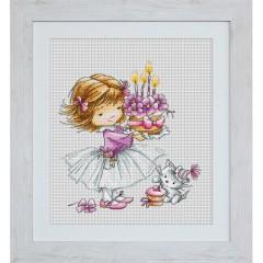 Набор для вышивания Luca-S B1054 Девочка с котенком и тортиком
