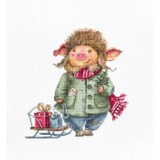 Набор для вышивки крестом Luca-S B1160 Рождественская свинка