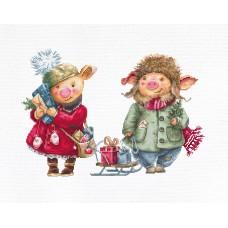 Набор для вышивки крестом Luca-S B1161 Рождественские свинки