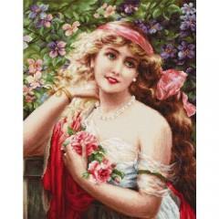 """Набор для вышивки Luca-S B549 """"Девушка с розами"""""""