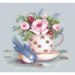 Набор для вышивания Luca-S BA2324 Птичка и чашка чая