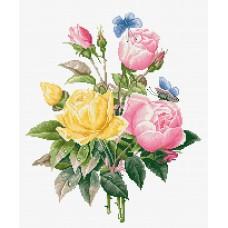 Набор для вышивки крестом Luca-S BU4003 Желтые розы и бенгальские розы
