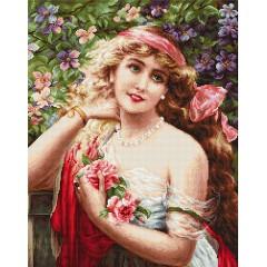 """Набор для вышивания Luca-S G549 """"Девушка с розами"""""""