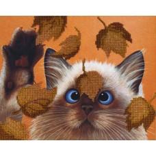 Набор для вышивания бисером  М.П.Cтудия БГ-182 Котик в листьях
