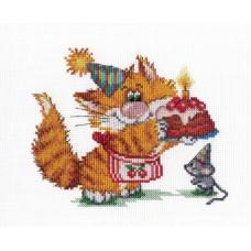 """Набор для вышивания М.П.Cтудия НВ-352 """"Рыжий кот. День Рождения"""""""