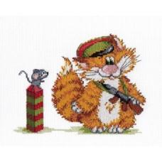 """Набор для вышивания М.П.Cтудия НВ-354 """"Рыжий кот. Пограничник"""""""