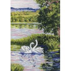 Набор для вышивания М.П.Cтудия НВ-349 Лебеди на пруду