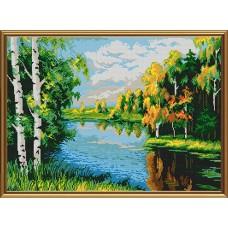 """Рисунки на ткани для вышивания бисером Новая Слобода БИС0115 """"Тихая река"""""""