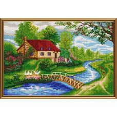 """Рисунки на ткани для вышивания бисером Новая Слобода БИС2294 """"На том берегу"""""""