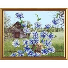 """Рисунки на ткани для вышивания бисером Новая Слобода БИС3111 """"Голубые цветочки"""""""