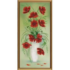 """Рисунки на ткани для вышивания бисером Новая Слобода БИС3201 """"Амфора. Красный букет"""""""