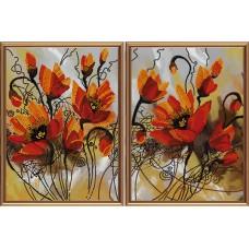 """Рисунки на ткани для вышивания бисером Новая Слобода В21008 """"Огненные цветы"""""""