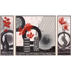 """Рисунки на ткани для вышивания бисером Новая Слобода В32005 """"Красные цветы"""""""