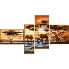 """Рисунки на ткани для вышивания бисером Новая Слобода В46512 """"Африканские слоны"""""""