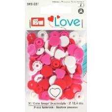 Кнопки Prym 393031 'Color Snaps' Сердце 30 шт.