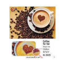 """Картина стразами в технике алмазной вышивки Collection D'Art DE225 """"Кофе для нее"""""""