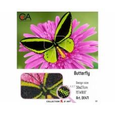 """Картина стразами в технике алмазной вышивки Collection D'Art DE471 """"Бабочка"""""""