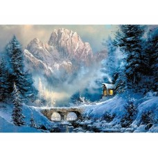 """Картина стразами в техніці алмазної вишивки Collection D'Art DE5839 """"У підніжжя гори"""""""