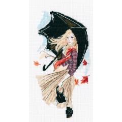 Набор для вышивания РТО M636 Девушка дождь и зонтик