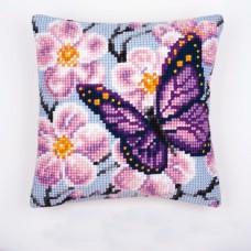 """Набор для вышивания VERVACO 1200/122. Подушка """"Бабочка и садовые цветы"""""""