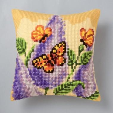 """Набор для вышивания VERVACO 1200/906 Подушка """"Бабочки на цветке"""""""