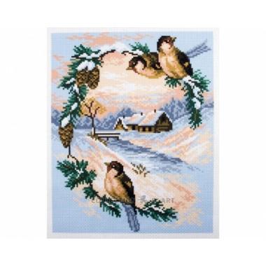 "Канва с рисунком Collection D'Art Аида PA0734 ""Sparrows"""