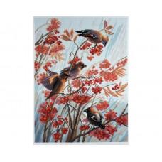 "Канва с рисунком Collection D'Art Аида PA1222 ""Waxwings birds"""