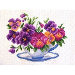 "Канва с рисунком Collection D'Art Аида PA1287 ""Viola in bowl"""