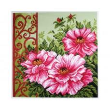 """Канва с рисунком Collection D'Art Аида PA1347 """"Peonies in garden"""""""