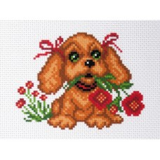 "Канва с рисунком Collection D'Art Аида PA1424 ""My puppy"""