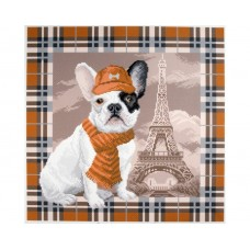 "Канва с рисунком Collection D'Art Аида PA1693 ""French bulldog in Paris"""