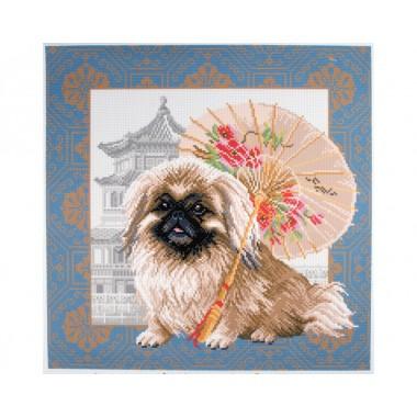 """Канва с рисунком Collection D'Art Аида PA1694 """"Pekingese in Beijing"""""""