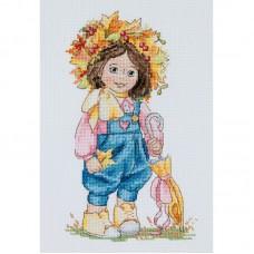 Набор для вышивания крестом Мережка К-100 Осенняя девочка