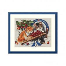 Набор для вышивания крестом Мережка К-68 Котята и вишни