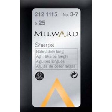 Иглы Milward 2121115 для ручного шитья острые №3-7 25 шт.