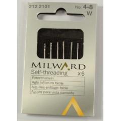 Иглы Milward 2122101 с автоматическим вдеванием нитки №4-8 6 шт.