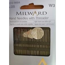 Набор игл Milward 2129004 для шитья и вышивки с нитковдевателем 25 шт.