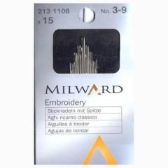 Иглы Milward 2131108 для вышивания №3-9 15 шт.