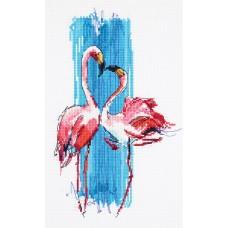 Набор для вышивки крестом Panna ПТ-7014 Розовые фламинго