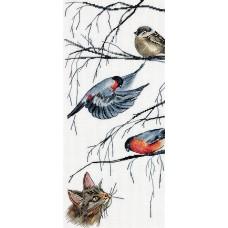 Набор для вышивания Panna Ж-7129 Любопытный кот и птички