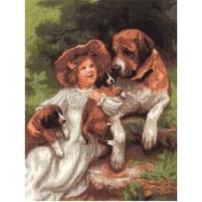Набор для вышивания Panna ВХ-1328 Девочка с собаками