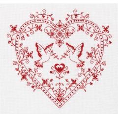 Набор для вышивания Panna СО-1403 Сердце с голубями