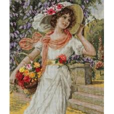 Набор для вышивания Panna ВХ-1480 Девушка с корзиной цветов